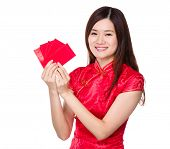 Woman hold lucky pocket money