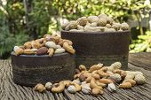 Mix Nuts On A Wooden Table