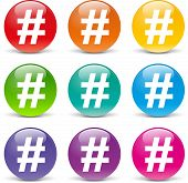 stock photo of hashtag  - collection of icons of different colors for hashtag - JPG