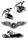 picture of motocross  - Tribal motocross mascot or tattoo design with skeleton on motorcycle with billowing flames wings with wheel and demon in the hood holding checkered flag - JPG