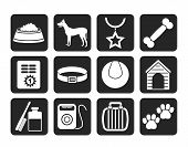 Silhouette dog accessory and symbols icons