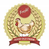 Poultry farm badge, chicken and eggs