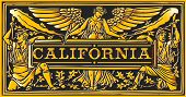 Vintage California Label Plaque, Black And Gold