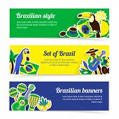 image of brazil carnival  - Brazil horizontal banner set with brazilian music nature and travel symbols isolated vector illustration - JPG