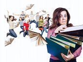 Mad faced teacher with folders in hands and her jump pupils