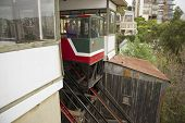 Passengers move down with El Peral funicular in Valparaiso, Chile.