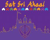 picture of punjabi  - an illustration of a punjabi greeting card in purple and saffron colors with gurdwara and sikh symbol - JPG
