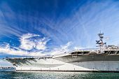 SAN DIEGO, CA - JAN 29: USS midway aircraft carrier in San Diego bay