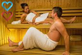 Calm couple relaxing in a sauna and chatting against hearts