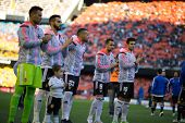 VALENCIA, SPAIN - JANUARY 4: Valencia players during Spanish League match between Valencia CF and Real Madrid at Mestalla Stadium on January 4, 2015 in Valencia, Spain