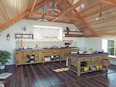image of attic  - modern kitchen interior with  island in the attic  - JPG