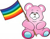 Teddy Bear with Rainbow Flag