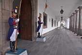 Quito, Ecuador - May 2014: Soldiers Guarding the Carondelet Palace at Their Posts