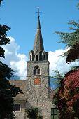 Church Tower In La Tour-de-peliz In Switzerland