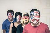 Funny People With Flags On Faces