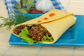 stock photo of shawarma  - Shawarma with meat salad leaves and spices