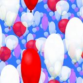 Red white party balloons seamless pattern on blue background