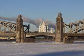 Smolny Cathedral in alignment Bolsheokhtinsky bridge. St. Petersburg. Russia