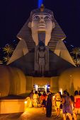 People Using The Sphinx Entrance Of A Famous Hotel In Las Vegas