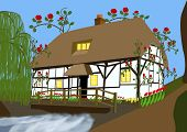 picture of english cottage garden  - Traditional English country scene of a  - JPG