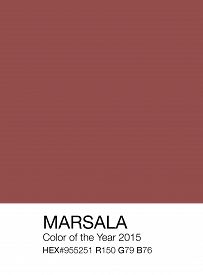 image of recipe card  - Marsala color sample patch with Hex and RGB recipes color of the year 2015 - JPG