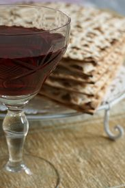 picture of seder  - Wine and matzo crackers a traditionall part of the Passover seder - JPG