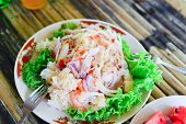picture of thai food  - Thai spicy salad and sea food show food background - JPG