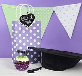 foto of graduation  - Graduation Day green and purple theme party with cupcakes and graduation cap toppers - JPG