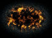 foto of explosion  - Explosion fire ball in the dark - JPG