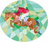 pic of oval  - Low polygon style illustration of a horse and jockey equestrian show jumping viewed from side set inside oval - JPG