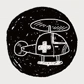 stock photo of helicopters  - Medical Helicopter Doodle - JPG