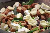 stock photo of brie cheese  - Fresh nice salad with croutons and cheese brie - JPG
