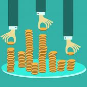 pic of golden coin  - Vector financial management concept with stack of golden coins - JPG