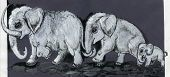 pic of mammoth  - graphic hand draw illustration mammoths family on grey background - JPG