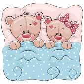 pic of teddy  - Teddy boy and teddy girl in a bed - JPG