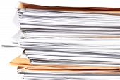 image of manila paper  - close up stack of paper on white background - JPG