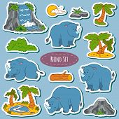 stock photo of rhino  - Set of various cute rhino vector stickers of animals and items of nature - JPG