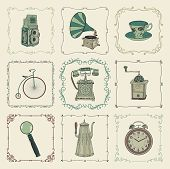 picture of kettles  - Vintage Colorful Hand Drawn Doodle Icons - JPG