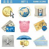 pic of coin bank  - Vector Bank Icons Set 1 - JPG