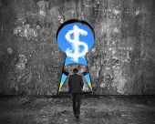 pic of keyholes  - Businessman walking toward keyhole door with sky dollar sign shape cloud view on mottled concrete wall background - JPG
