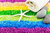 pic of sea salt  - Color sea salt rainbow with sea star stones and bath towel - JPG