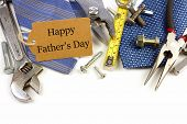 picture of happy day  - Happy Fathers Day gift tag with border of tools and ties on a white background - JPG