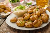 picture of pretzels  - Pretzel rolls homemade cheese dip from cheddar with beer and mustard - JPG