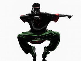 pic of  dancer  - one hip hop acrobatic break dancer breakdancing young man silhouette white background - JPG
