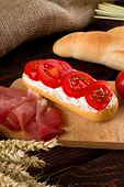 Постер, плакат: Fresh Baguette With Cottage Cheese And Tomatoes