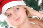 Beautiful Blond Santa Girl