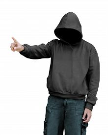 stock photo of hoodie  - Man in hoodie pointing something isolated over white background - JPG