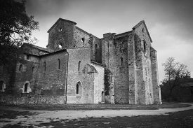 picture of monochromatic  - Monochromatic photo of ruins of the Abbey near Siena  - JPG