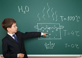 picture of boiling water  - school boy show physical phenomenon hot water boil - JPG