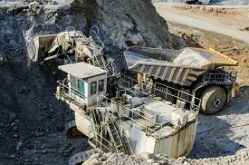 image of open-pit mine  - View of the open pit machinery in a mine  - JPG
